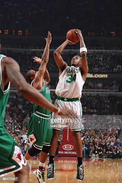 Paul Pierce of the Boston Celtics shoots a jumpshot against Derrick Rose of the Chicago Bulls on March 17 2009 at the United Center in Chicago...