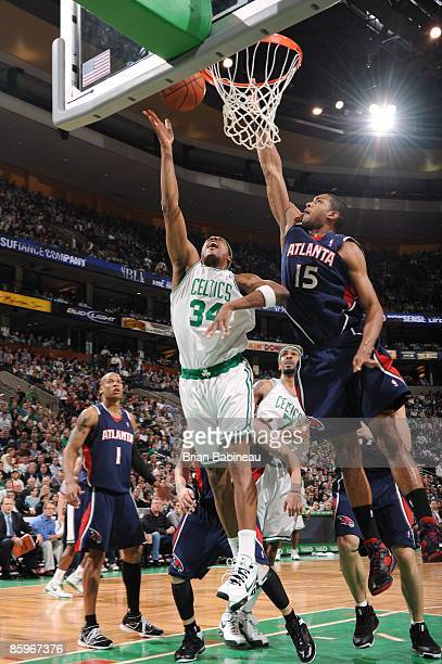 Paul Pierce of the Boston Celtics shoots a layup against Al Horford of the Atlanta Hawks during the game at The TD Banknorth Garden on April 3 2009...
