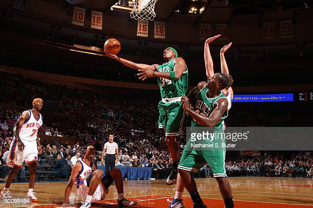 Paul Pierce of the Boston Celtics shoots against Jared Jeffries of the New York Knicks on October 20 2009 at Madison Square Garden in New York City...
