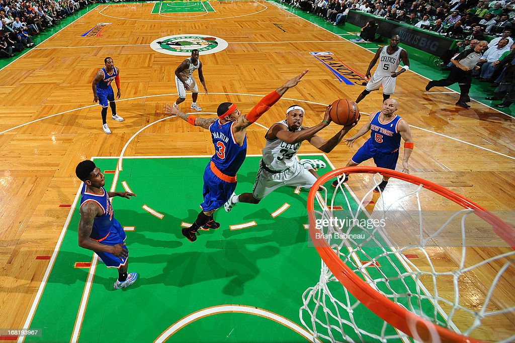Paul Pierce #34 of the Boston Celtics shoots against Kenyon Martin #3 of the New York Knicks in Game Six of the Eastern Conference Quarterfinals during the NBA Playoffs on May 3, 2013 at the TD Garden in Boston, Massachusetts.