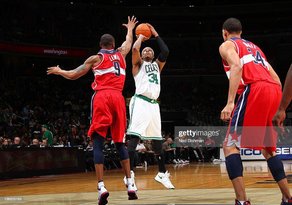 Paul Pierce #34 of the Boston Celtics shoots against Rashard Lewis #9 of the Washington Wizards during the game at the Verizon Center on January 1, 2012 in Washington, DC.