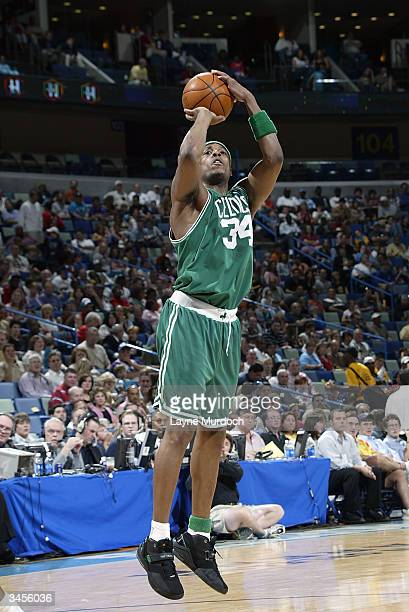 Paul Pierce of the Boston Celtics shoots against the New Orleans Hornets during the game at New Orleans Arena on April 9 2004 in New Orleans...