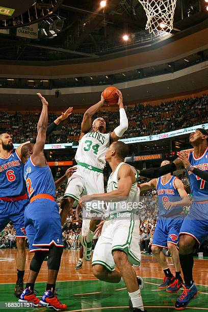 Paul Pierce of the Boston Celtics shoots against the New York Knicks in Game Four of the Eastern Conference Quarterfinals during the 2013 NBA...