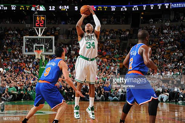 Paul Pierce of the Boston Celtics shoots the ball against the New York Knicks during Game Four of the Eastern Conference Quarterfinals on April 28...