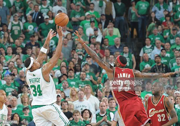 Paul Pierce of the Boston Celtics shots over Lebron James of the Cleveland Cavaliers in Game Seven of the Eastern Conference Semifinals during the...