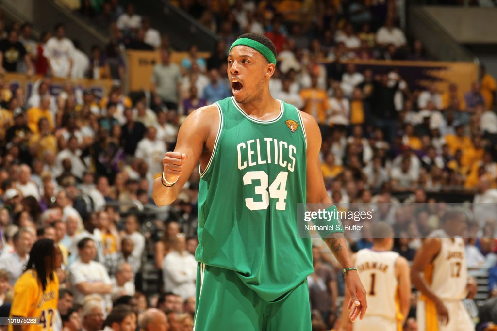 Paul Pierce #34 of the Boston Celtics shows emotion after win over the Los Angeles Lakers in Game Two of the 2010 NBA Finals on June 6, 2010 at Staples Center in Los Angeles, California.