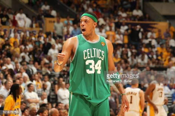 Paul Pierce of the Boston Celtics shows emotion after win over the Los Angeles Lakers in Game Two of the 2010 NBA Finals on June 6 2010 at Staples...