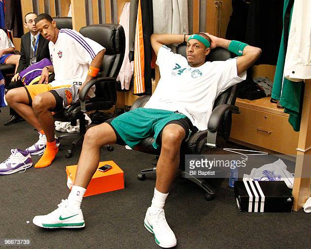 Paul Pierce of the Boston Celtics sits in the locker room prior to the Foot Locker Three Point Shootout during AllStar Saturday Night as part of 2010...