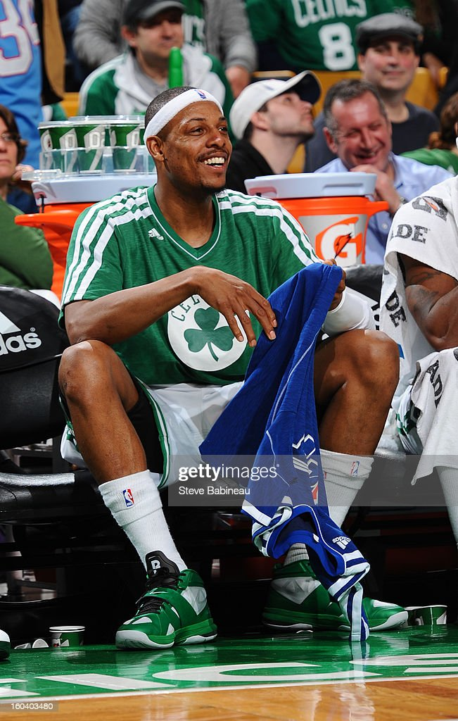Paul Pierce #34 of the Boston Celtics sits on the bench against the Sacramento Kings on January 30, 2013 at the TD Garden in Boston, Massachusetts.
