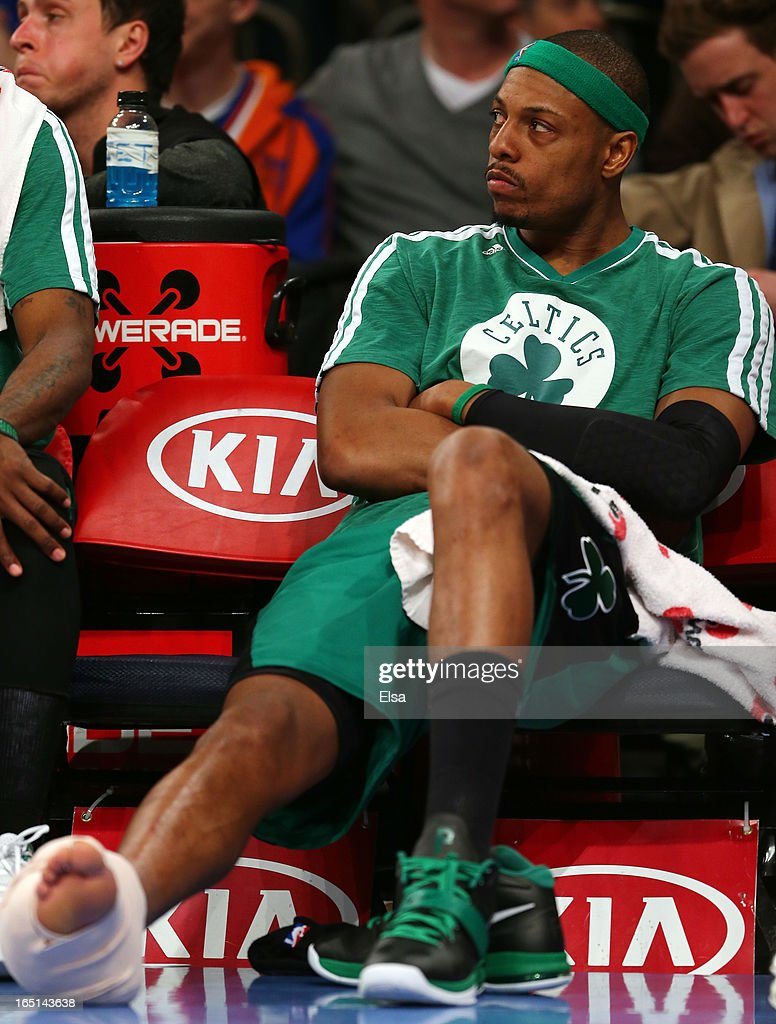 Paul Pierce #34 of the Boston Celtics sits on the bench in the fourth quarter against the New York Knicks on March 31, 2013 at Madison Square Garden in New York City.