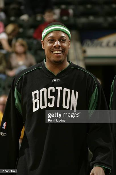 Paul Pierce of the Boston Celtics smiles before the game against the Indiana Pacers on April 12, 2006 at Conseco Fieldhouse in Indianapolis, Indiana....