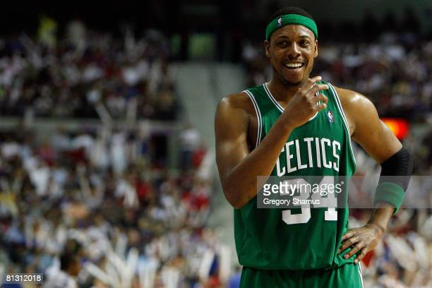 Paul Pierce of the Boston Celtics smiles while playing against the Detroit Pistons in Game Six of the Eastern Conference finals during the 2008 NBA...