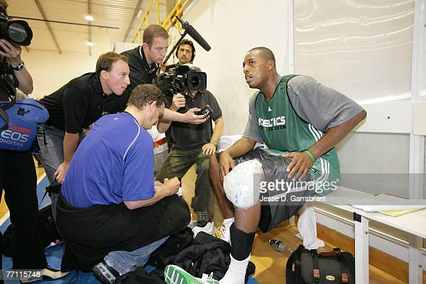 Paul Pierce of the Boston Celtics speaks with the media after practice as part of the 2007 NBA Europe Live Tour on September 30, 2007 at the...