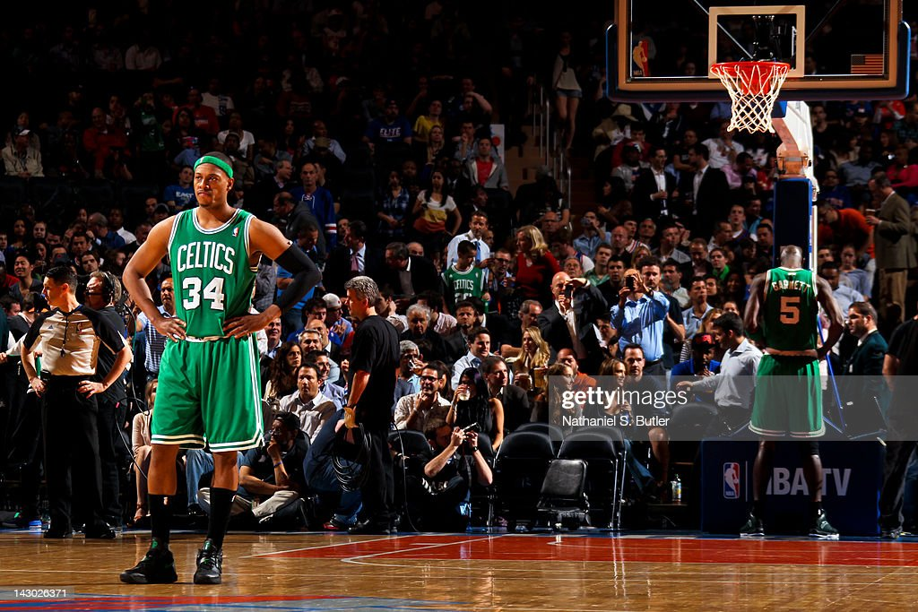 Paul Pierce #34 of the Boston Celtics stands on court during a break in action against the New York Knicks on April 17, 2012 at Madison Square Garden in New York City.