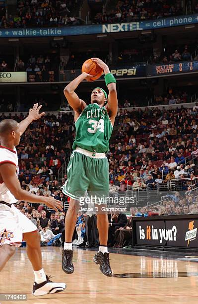 Paul Pierce of the Boston Celtics takes a shot against the Philadelphia 76ers during the game at First Union Center on January 20 2003 in...