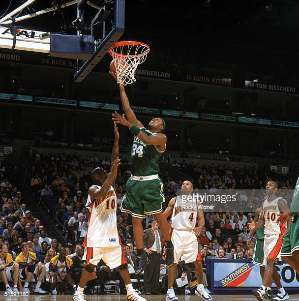 Paul Pierce of the Boston Celtics takes the ball to the basket during the game against the Golden State Warriors at The Arena in Oakland on December...