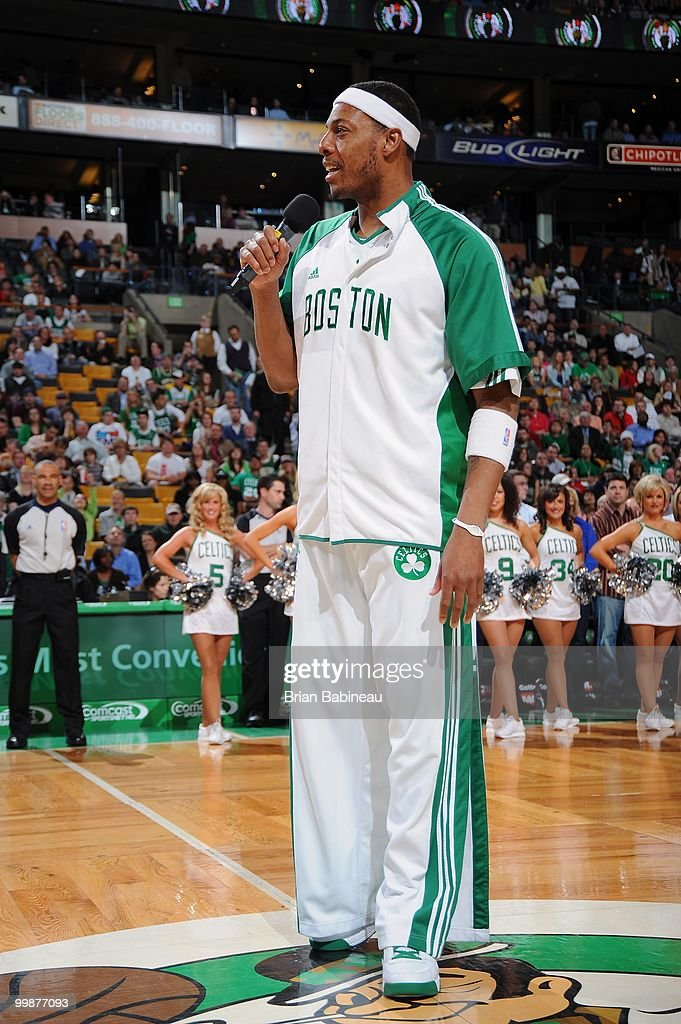 Paul Pierce #34 of the Boston Celtics talks to the crowd before the game against the Milwaukee Bucks on April 14, 2010 at the TD Garden in Boston, Massachusetts. The Bucks won 106-95.