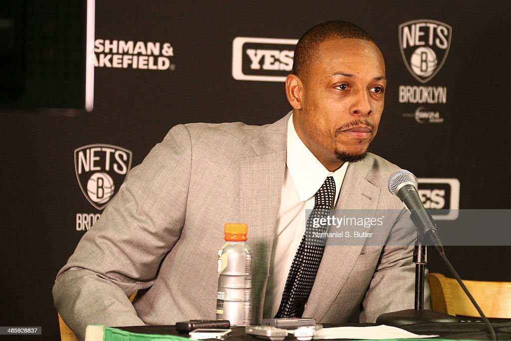 Paul Pierce #34 of the Brooklyn Nets answers questions after the game against the Boston Celtics during a game at TD Garden in Boston.
