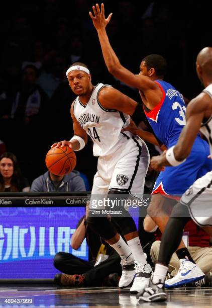 Paul Pierce of the Brooklyn Nets in action against Hollis Thompson of the Philadelphia 76ers at Barclays Center on February 3 2014 in the Brooklyn...