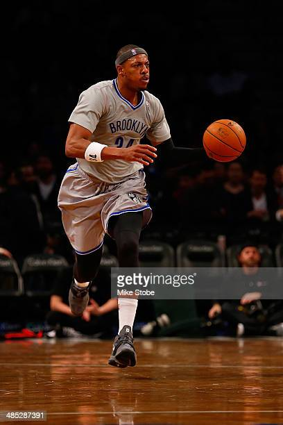 Paul Pierce of the Brooklyn Nets in action against the Atlanta Hawks at Barclays Center on April 11 2014 in New York City NOTE TO USER User expressly...