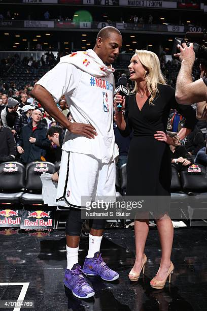 Paul Pierce of the Brooklyn Nets is interviewed by YES Reporter Sarah Kustok after a win against the Charlotte Bobcats at the Barclays Center on...