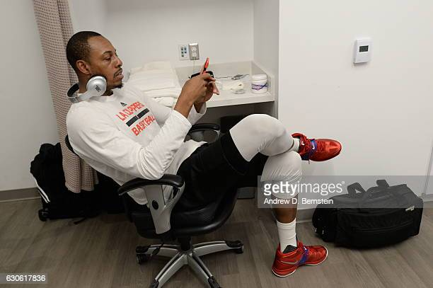 Paul Pierce of the LA Clippers gets ready before the game against the Los Angeles Lakers on December 25 2016 at STAPLES Center in Los Angeles...