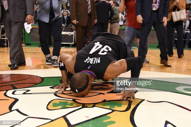 Paul Pierce of the LA Clippers kisses the leprechaun after the game against the Boston Celtics on February 5 2017 at the TD Garden in Boston...