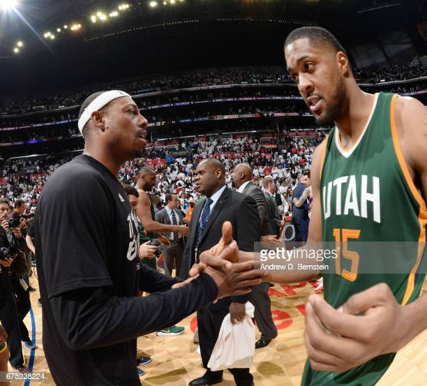Paul Pierce of the LA Clippers shakes hands with Derrick Favors of the Utah Jazz after Game Seven of the Western Conference Quarterfinals of the 2017...