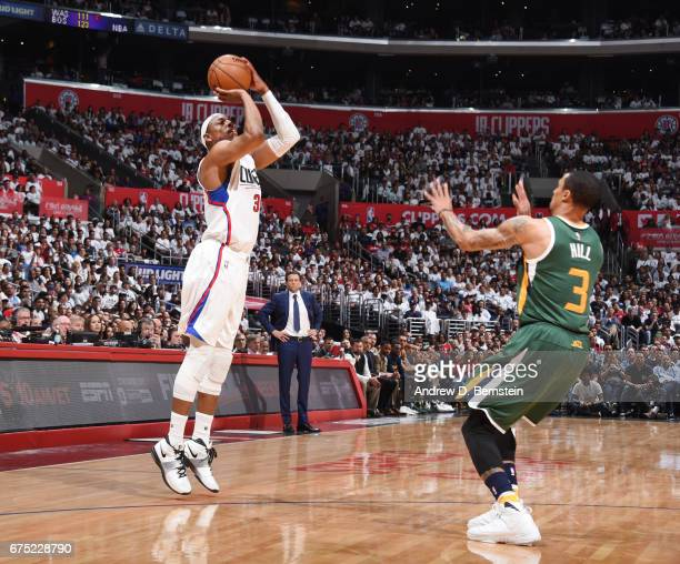 Paul Pierce of the LA Clippers shoots the ball against the Utah Jazz during Game Seven of the Western Conference Quarterfinals of the 2017 NBA...