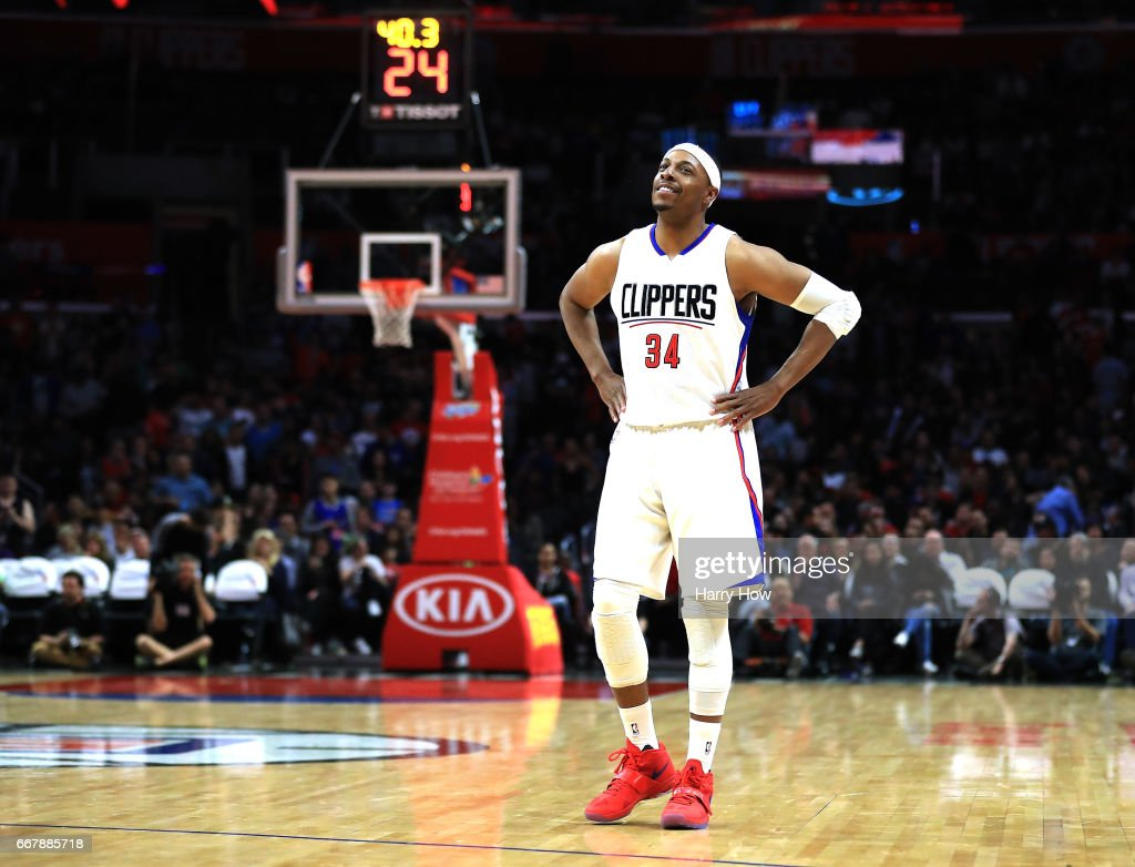Paul Pierce #34 of the LA Clippers smiles on the court as he appears in his final regular season game during the final minutes of the fourth quarter against the Sacramento Kings at Staples Center on April 12, 2017 in Los Angeles, California.