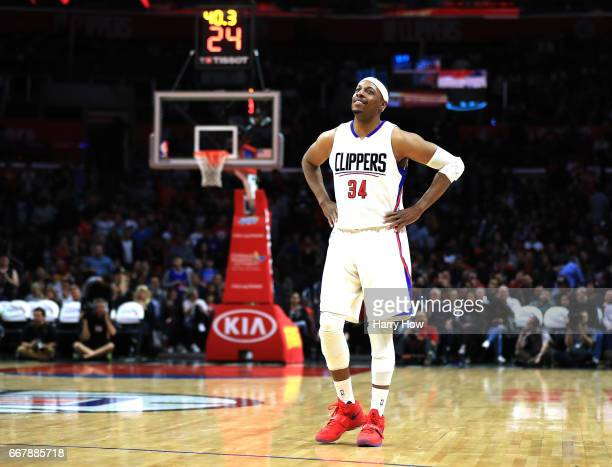 Paul Pierce of the LA Clippers smiles on the court as he appears in his final regular season game during the final minutes of the fourth quarter...