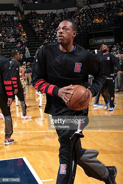 Paul Pierce of the LA Clippers warms up before the game against the Indiana Pacers on November 27 2016 at Bankers Life Fieldhouse in Indianapolis...