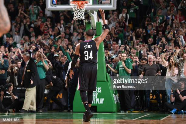 Paul Pierce of the LA Clippers waves to the crowd during the game against the Boston Celtics on February 5 2017 at the TD Garden in Boston...