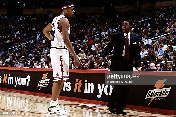 Paul Pierce of the Eastern Conference AllStars talks with head coach Isiah Thomas during the 52nd NBA AllStar Game against the Western Conference at...
