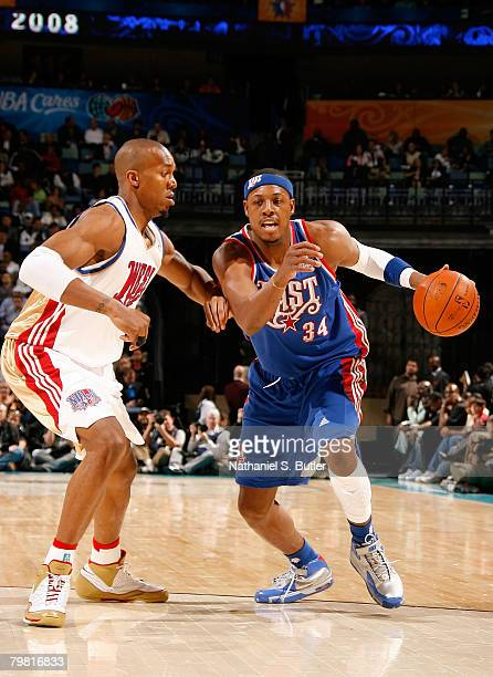 Paul Pierce of the Eastern Conference drives against David West of the Western Conference during the 2008 NBA AllStar Game part of 2008 NBA AllStar...