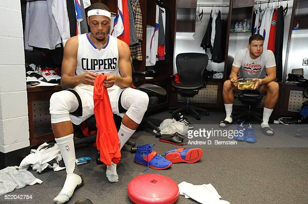 Paul Pierce of the Los Angeles Clippers and Blake Griffin of the Los Angeles Clippers prepare for Game One of the Western Conference Quarterfinals...