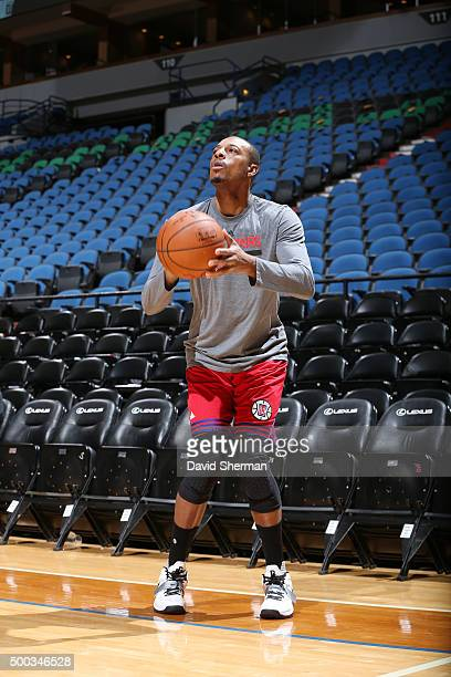 Paul Pierce of the Los Angeles Clippers warms up before the game against the Minnesota Timberwolves on December 7 2015 at Target Center in...