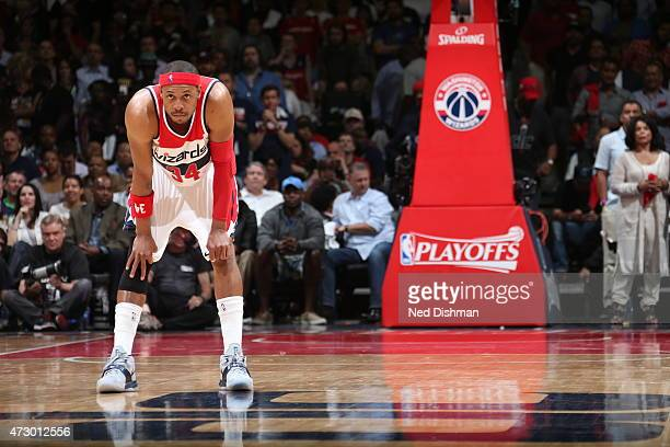 Paul Pierce of the Washington Wizards during the game against the Atlanta Hawks in Game Four of the Eastern Conference Semifinals during the 2015 NBA...