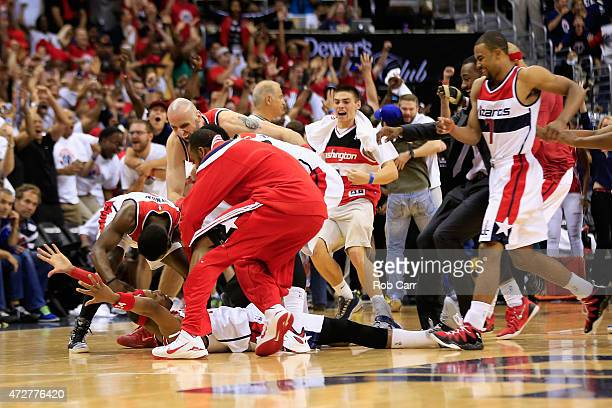 Paul Pierce of the Washington Wizards is mobbed by teammates after hitting the game winning shot to give the Wizards a 103101 win over Atlanta Hawks...