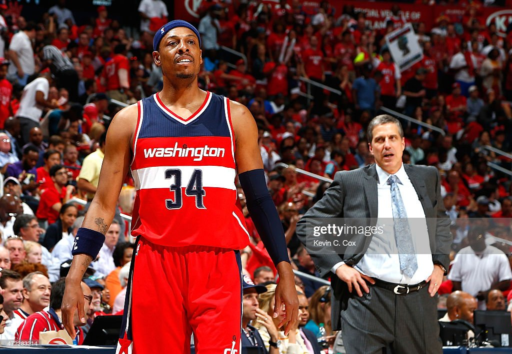 Paul Pierce #34 of the Washington Wizards reacts after committing a foul against the Atlanta Hawks during Game Two of the Eastern Conference Semifinals of the 2015 NBA Playoffs at Philips Arena on May 5, 2015 in Atlanta, Georgia.