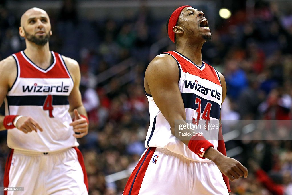 Paul Pierce #34 of the Washington Wizards reacts after scoring against the Memphis Grizzlies in the first half at Verizon Center on March 12, 2015 in Washington, DC.