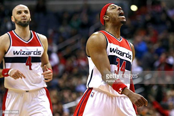 Paul Pierce of the Washington Wizards reacts after scoring against the Memphis Grizzlies in the first half at Verizon Center on March 12 2015 in...