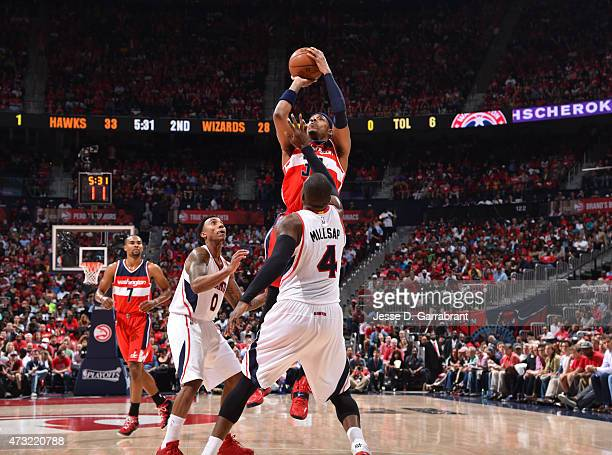 Paul Pierce of the Washington Wizards shoots the ball against the Atlanta Hawks in Game five of the Eastern Conference Semifinals of the NBA Playoffs...