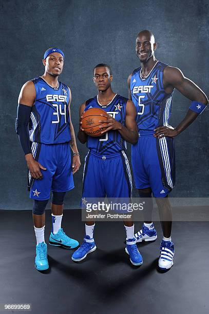 Paul Pierce Rajon Rondo and Kevin Garnett of the Eastern Conference pose for a portrait prior to the NBA AllStar game as part of the 2010 NBA AllStar...