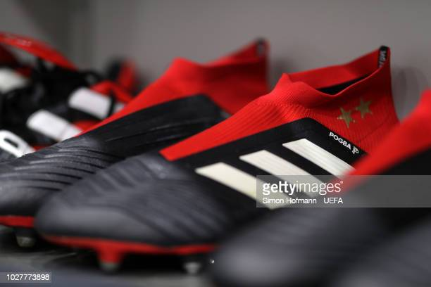 Paul Poga of France boots are seen inside the changing room prior to the UEFA Nations League Group A match between Germany and France at Allianz...