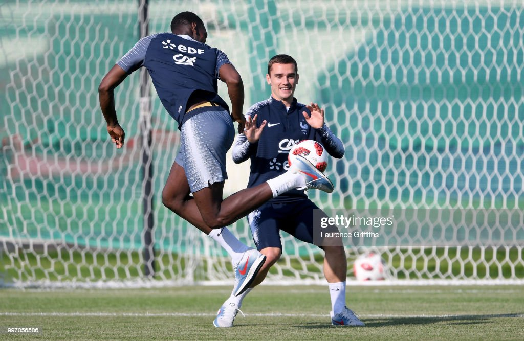 Paul Pogba abd Antoine Griezmann in action during a France trainig session on July 12, 2018 in Moscow, Russia.