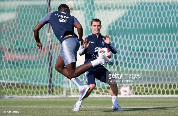 Paul Pogba abd Antoine Griezmann in action during a France trainig session on July 12 2018 in Moscow Russia