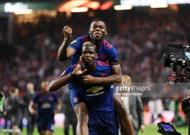 Paul Pogba and Anthony Martial of Manchester United celebrates after the victory during the UEFA Europa League Final between Ajax and Manchester...