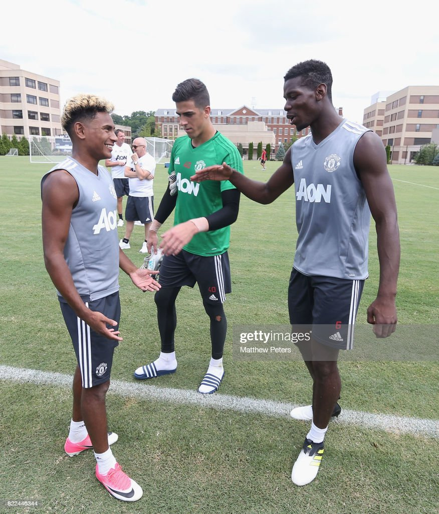 Paul Pogba and Demitri Mitchell of Manchester United in action during a first team training session as part of their pre-season tour of the USA on July 25, 2017 in Washington, DC.