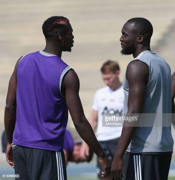 Paul Pogba and Romelu Lukaku of Manchester United in action during a first team training session as part of their preseason tour of the USA at UCLA...